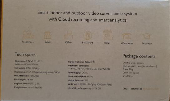 Oco Pro Dome Outdoor/Indoor 1080p Cloud Surveillance and Security