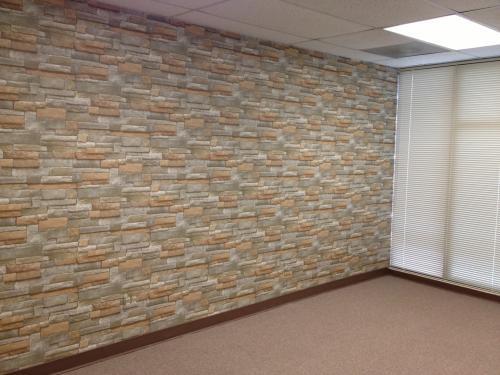 The Wallpaper Company 56 sq. ft. Brown Earth Tone Stone Wallpaper ...