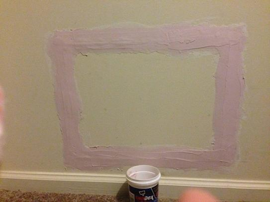 first coat of spackle, still wet