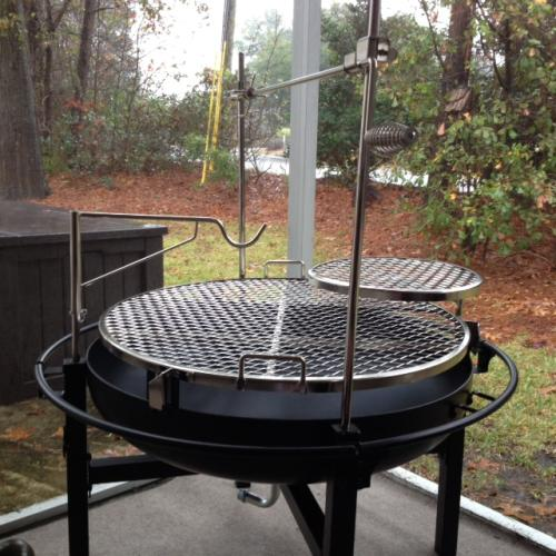 Rivergrille cowboy 31 in charcoal grill and fire pit for Build fire pit grill