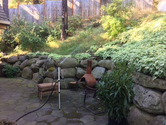 Keeping our hillside green is critical, both for beauty and fire protection. This sprinkler does the job!