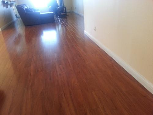 Hampton Bay High Gloss Jatoba 8 Mm Thick X 5 In Wide X 47 34 In