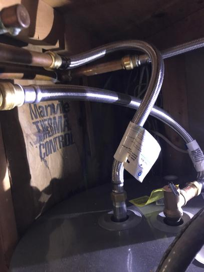 replaced Water heater in a small room like closet elevated 24 inches above floor no room to safely solder fittings