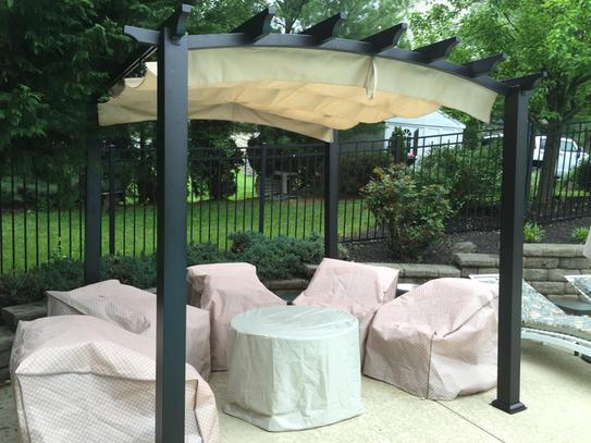 Steel and Aluminum Arched Pergola with Retractable Canopy GFM00469A at The Home  Depot - Mobile - Hampton Bay 9 Ft. X 9 Ft. Steel And Aluminum Arched Pergola With