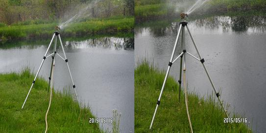 Adjusted one leg of the tripod to level the sprinkler.