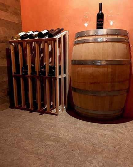 Wine Cellar - Behr Venetian Plaster wall and Heritage Mill Smoky Mineral Cork Flooring