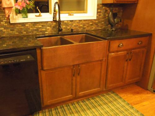 sinkology rockwell farmhouse apron front handmade pure solid copper 33 in double bowl kitchen the home depot