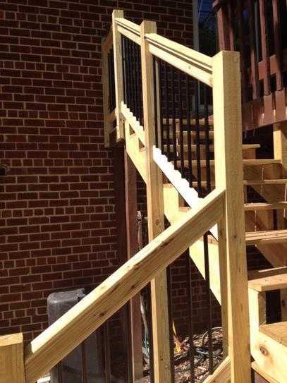 Pressure Treated Stair Railing Kit With Black Aluminum Balusters 172977 At  The Home Depot   Mobile