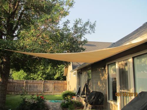 shade sails home depot Easy Gardener 11.8 ft. Triangle Sun Sail Garden Sun Shade Sail  shade sails home depot