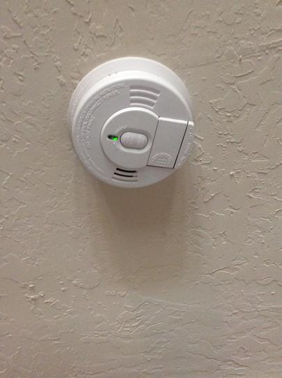 Newly installed smoke detector.