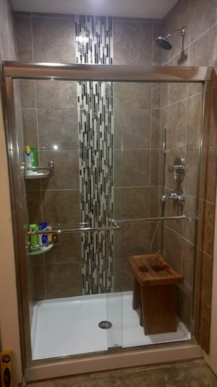 Delta 48 in. to 60 in. Contemporary Sliding Shower Door Track ...