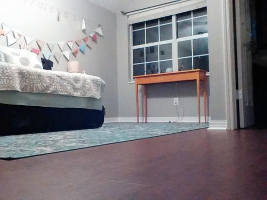 Cork flooring in upstairs bonus room is quiet and cozy!