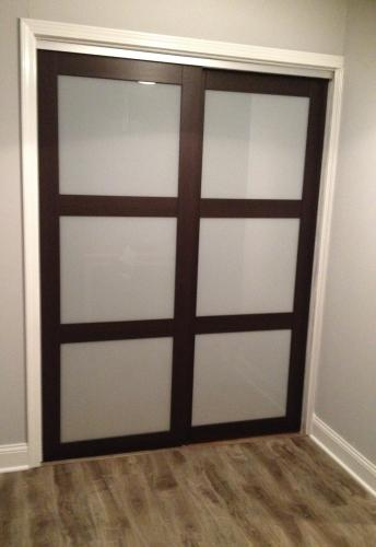 Beau TRUporte 48 In. X 80 In. 2290 Series Composite Espresso 3 Lite Tempered  Frosted Glass Sliding Door 2290   The Home Depot