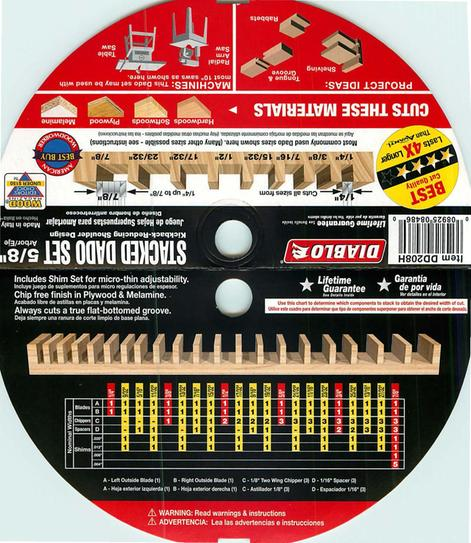 Diablo 8 In X 12 Teeth Stacked Dado Saw Blade Set Dd208h At The