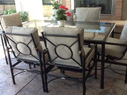 Hampton Bay Barnsley 7 Piece Glass Top Patio Dining Set With Textured Silver Pebble Cushions