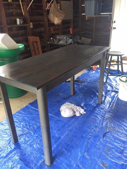 Kitchen table I refinished using Varathane Carbon Gray Premium Fast Dry Interior Wood Stain! Gorgeous color!
