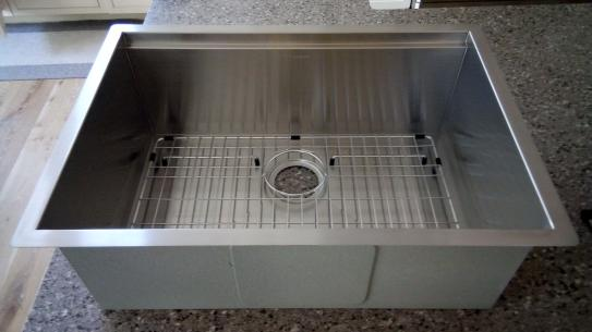 Sink with stainless steel rack