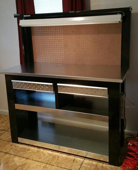 54 In Professional Steel Workbench With Back Wall Storage Wbg 54bb