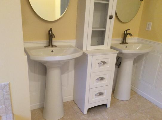 Kohler Cimarron Single Hole Vitreous China Pedestal Combo Bathroom Sink With Overflow Drain In White K 2362 1 0 At The Home Depot