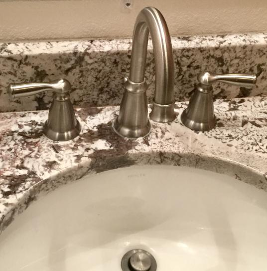 The Moen Banbury gives our bathroom a touch of class!