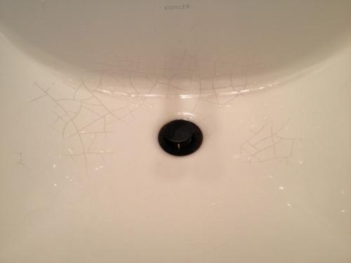 cracks all over basin