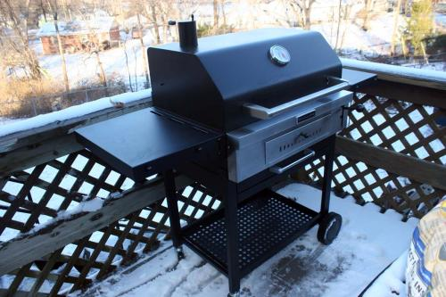 Kitchenaid Cart Style Charcoal Grill In Black With Foldable Side Shelves 810 0021 At The Home Depot Mobile