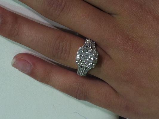 cushion shaped multi diamond center engagement ring in 14k white gold 1760897
