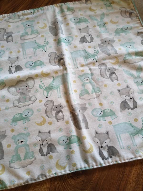 Mini Blanket,Soft Green and Cream Flannel Monkey Hearts Baby Comfy Blanket