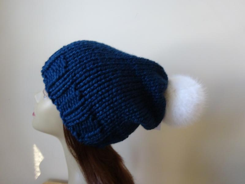 94deba68302 My knit slouch hat with white faux fur pompom