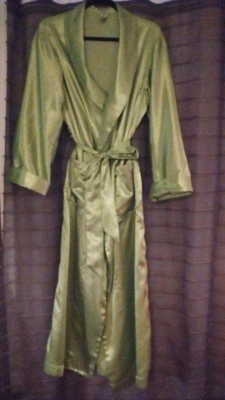 My New Green Flannel Backed Satin Robe