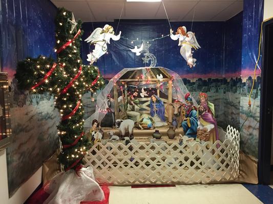 design a room christmas nativity scene backdrop set