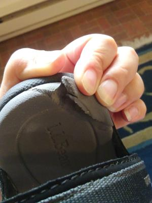 043e3ac39 Its a pretty significant tear from very light use. So sad because I love  L.L.Bean's style but I just can't pay good money for shoes that break and  wear down ...