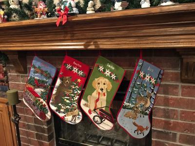 Dog Christmas Stocking.Christmas Needlepoint Stocking Cotton