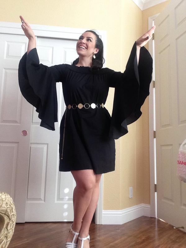 96709d49d01 NY&C: Off-The-Shoulder Bell-Sleeve Poplin Dress - Black