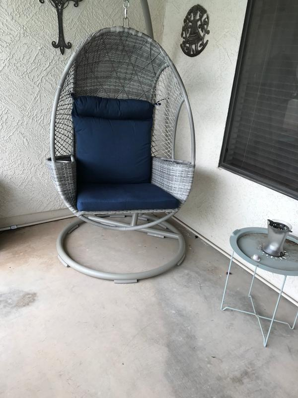 Pleasant Members Mark Woven Egg Chair With Cup Holder Various Spiritservingveterans Wood Chair Design Ideas Spiritservingveteransorg