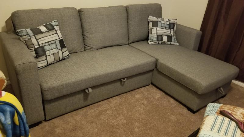 Strange Langley Reversible Sectional Sofa With Storage Fossil Gray Ibusinesslaw Wood Chair Design Ideas Ibusinesslaworg