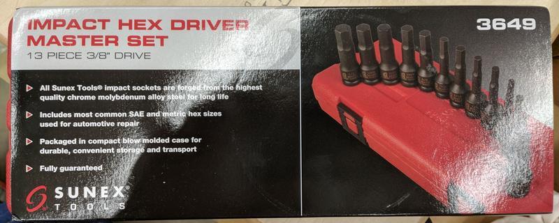 3649 SAE /& Metric Impact Hex Driver Set