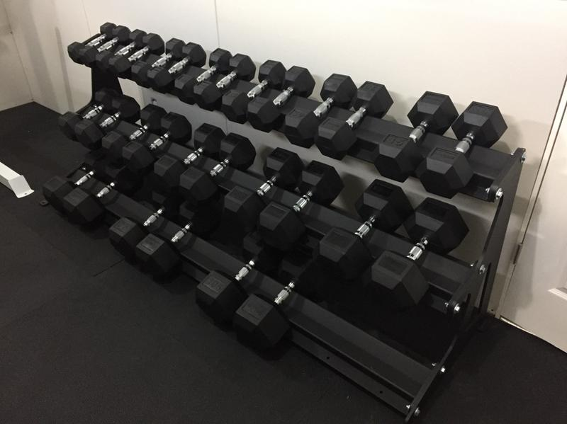 Rogue 3 tier dumbbell rack stores up to 30 dumbbells rogue fitness