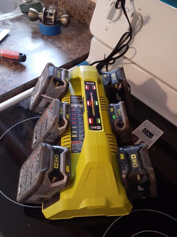 Brand New Ryobi Battery Charger SUPERCHARGER 18V ONE 6-Port IntelliPort P135