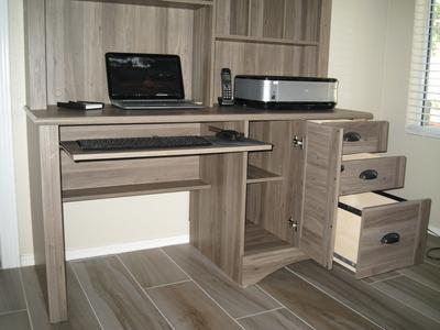 Sauder Harbor View Computer Desk with Hutch Salt Oak Walmartcom