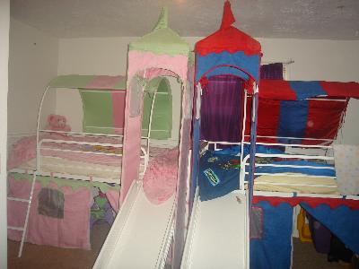 Girlu0026apos;s Castle Tent Twin Metal Loft Bed with Slide u0026&; Under Bed Storage White - Walmart.com : bed tents at walmart - memphite.com