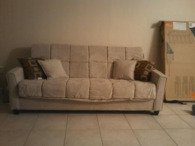 baja convert-a-couch futon sofa bed, khaki - walmart