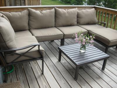 Sandhill outdoor sectional sofa set outdoor sofa with for Sandhill 7 piece outdoor sofa sectional set seats 5