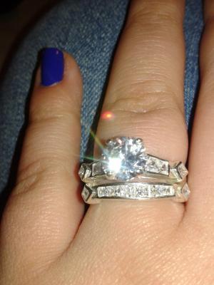 sterling silver 66 carat tgw cubic zirconia 2 piece wedding ring set walmartcom - Walmart Wedding Ring Sets
