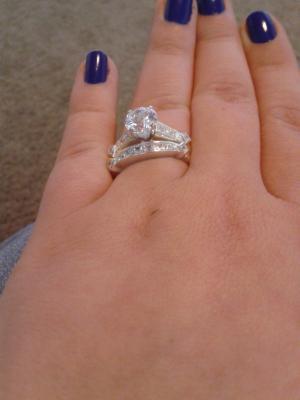 Buy Sterling Silver 6.6 Carat T.G.W. Cubic Zirconia 2 Piece Wedding Ring Set