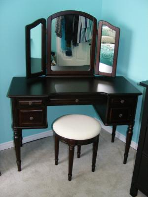 Classic Vanity With Tri Fold Mirror And Bench, Espresso   Walmart.com