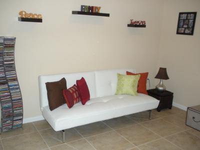 Belle Faux Leather Convertible Futon Sofa Bed White Com