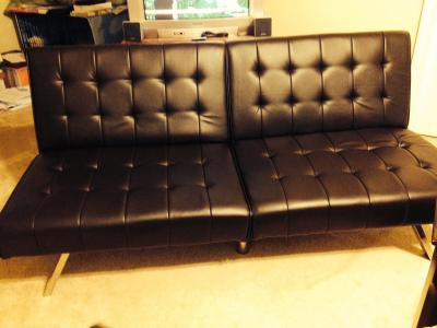 Brown Faux Leather Futon