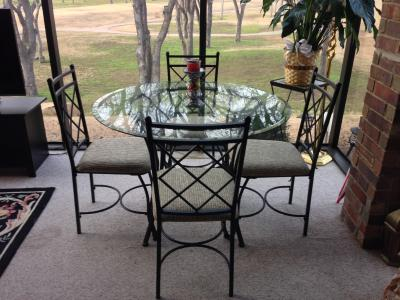 Glass Top Tables And Chairs mainstays 5-piece glass top metal dining set - walmart