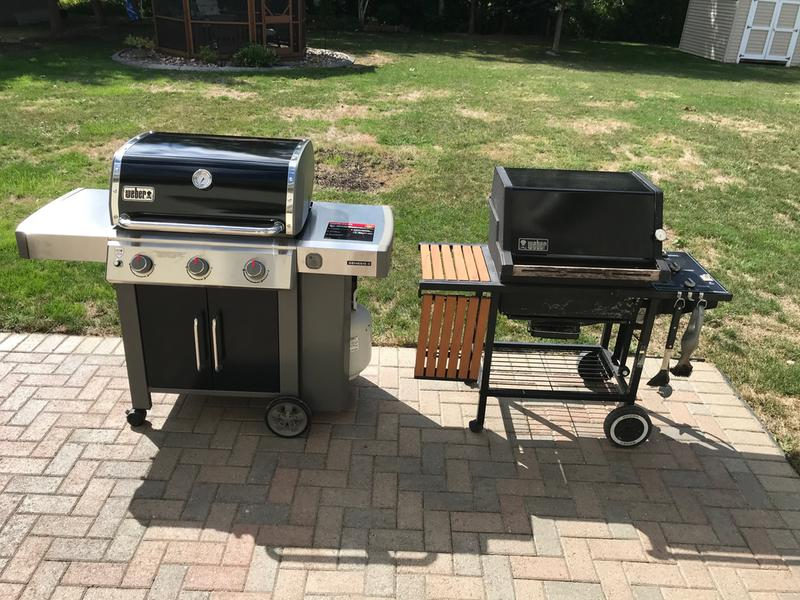 New grill next to old grill.